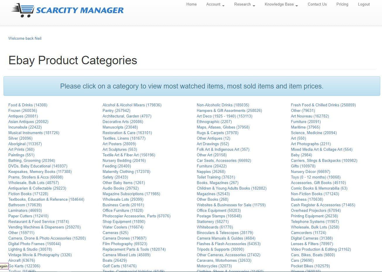 Ebay Product Categories